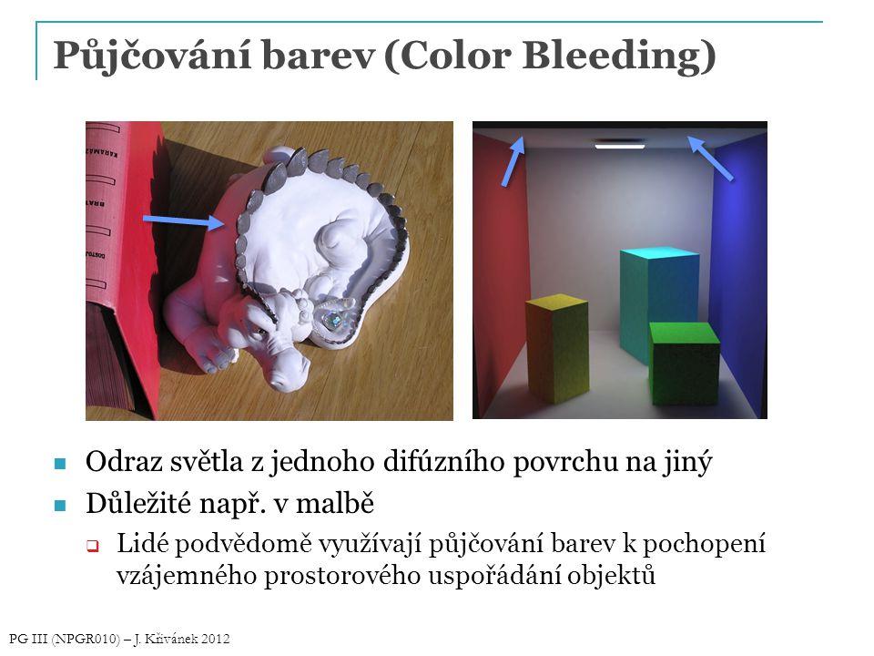 Půjčování barev (Color Bleeding) Odraz světla z jednoho difúzního povrchu na jiný Důležité např. v malbě  Lidé podvědomě využívají půjčování barev k
