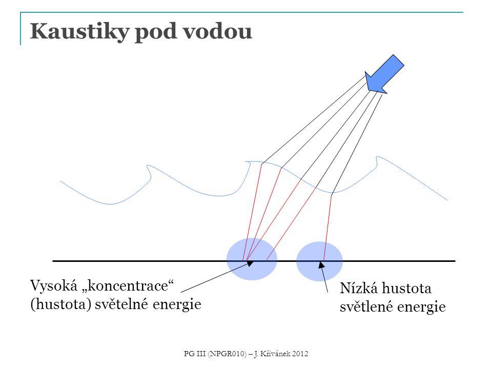 """Kaustiky pod vodou Vysoká """"koncentrace"""" (hustota) světelné energie Nízká hustota světlené energie PG III (NPGR010) – J. Křivánek 2012"""