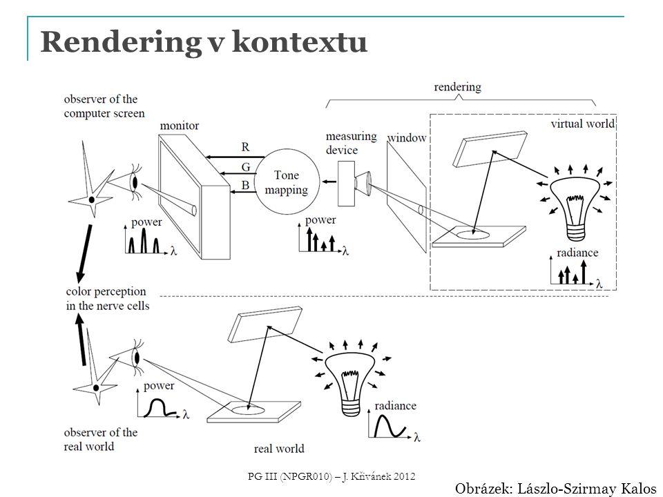 Různé přístupy k renderingu Nefotorealistický rendering  Napodobení uměleckých stylů  Technické nákresy  Zdůraznění nějaké informace Fotorealistický rendering  Cíl: obrázky jako fotografie  Metoda: simulace přenosu světla ve scéně  NAŠE TÉMA PG III (NPGR010) – J.