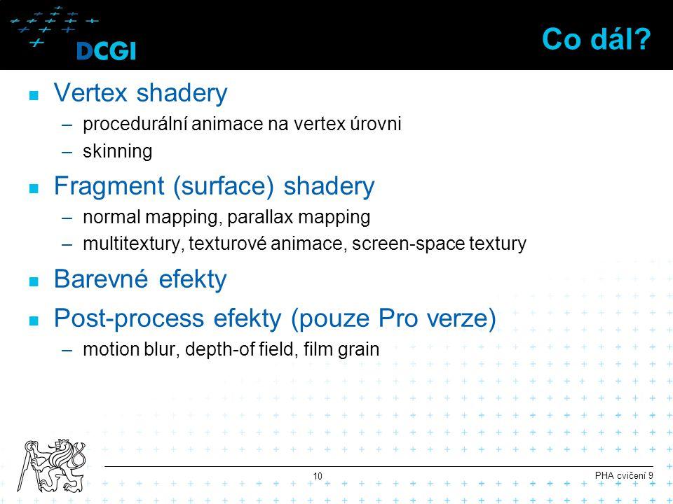 Co dál? Vertex shadery –procedurální animace na vertex úrovni –skinning Fragment (surface) shadery –normal mapping, parallax mapping –multitextury, te