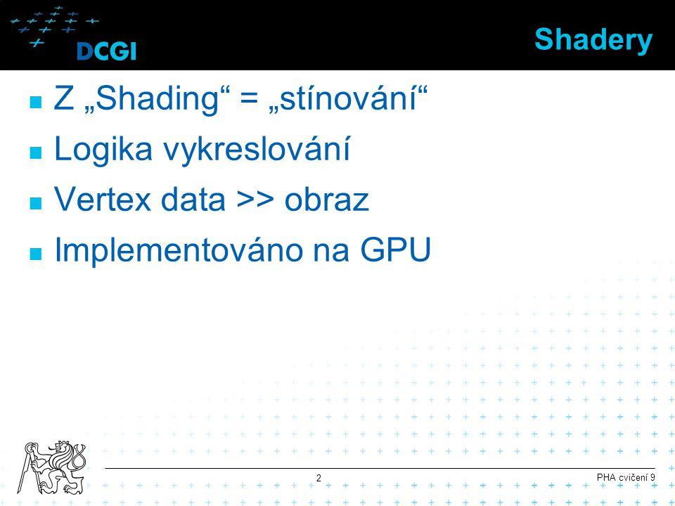 """Shadery Z """"Shading"""" = """"stínování"""" Logika vykreslování Vertex data >> obraz Implementováno na GPU PHA cvičení 9 2"""