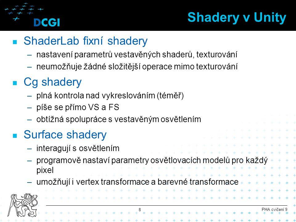 Shadery v Unity ShaderLab fixní shadery –nastavení parametrů vestavěných shaderů, texturování –neumožňuje žádné složitější operace mimo texturování Cg