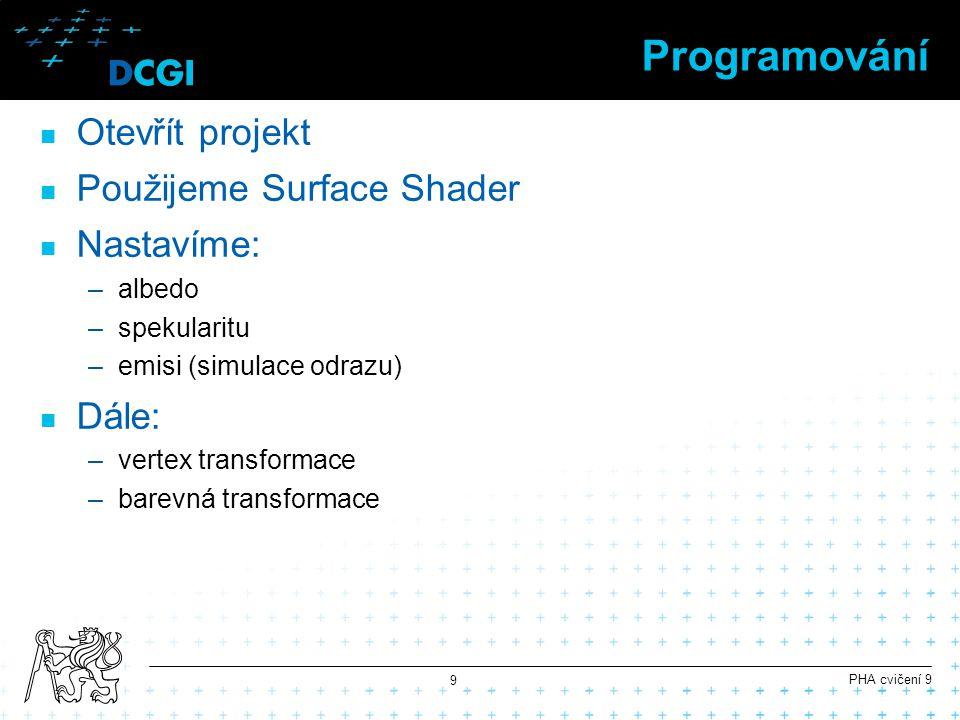 Programování Otevřít projekt Použijeme Surface Shader Nastavíme: –albedo –spekularitu –emisi (simulace odrazu) Dále: –vertex transformace –barevná tra