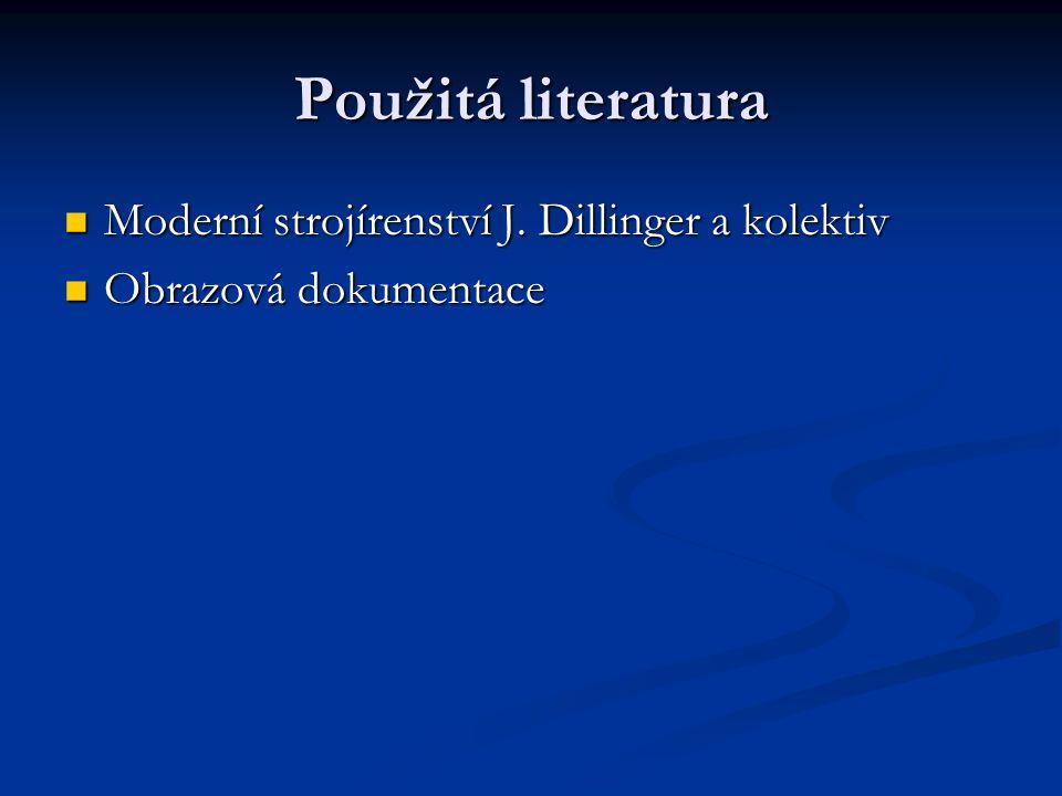 Použitá literatura Moderní strojírenství J. Dillinger a kolektiv Moderní strojírenství J. Dillinger a kolektiv Obrazová dokumentace Obrazová dokumenta