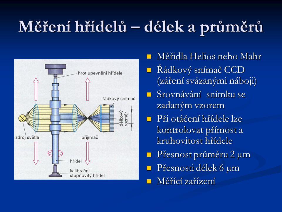 Měření hřídelů – délek a průměrů Měřidla Helios nebo Mahr Měřidla Helios nebo Mahr Řádkový snímač CCD (záření svázanými náboji) Řádkový snímač CCD (záření svázanými náboji) Srovnávání snímku se zadaným vzorem Srovnávání snímku se zadaným vzorem Při otáčení hřídele lze kontrolovat přímost a kruhovitost hřídele Při otáčení hřídele lze kontrolovat přímost a kruhovitost hřídele Přesnost průměru 2 µm Přesnost průměru 2 µm Přesnosti délek 6 µm Přesnosti délek 6 µm Měřící zařízení Měřící zařízení