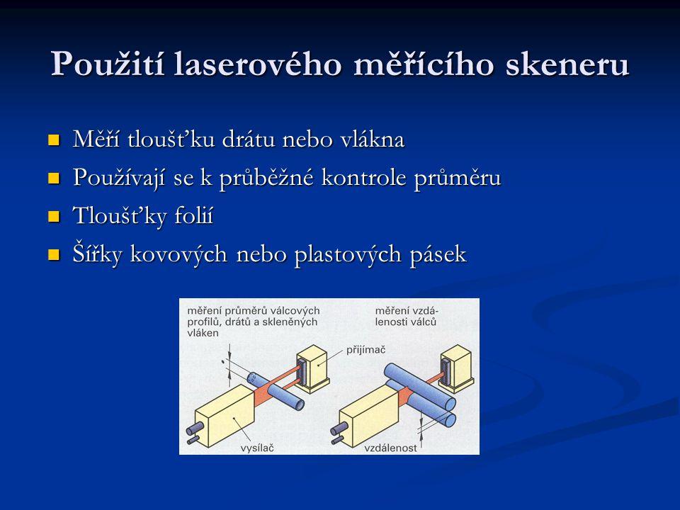 Použití laserového měřícího skeneru Měří tloušťku drátu nebo vlákna Měří tloušťku drátu nebo vlákna Používají se k průběžné kontrole průměru Používají se k průběžné kontrole průměru Tloušťky folií Tloušťky folií Šířky kovových nebo plastových pásek Šířky kovových nebo plastových pásek