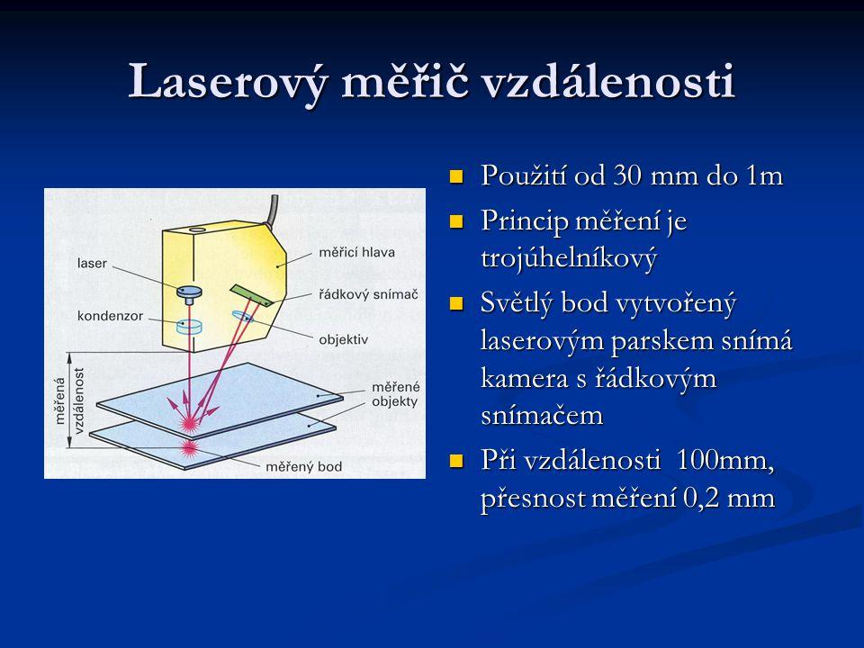 Laserový měřič vzdálenosti Použití od 30 mm do 1m Použití od 30 mm do 1m Princip měření je trojúhelníkový Princip měření je trojúhelníkový Světlý bod