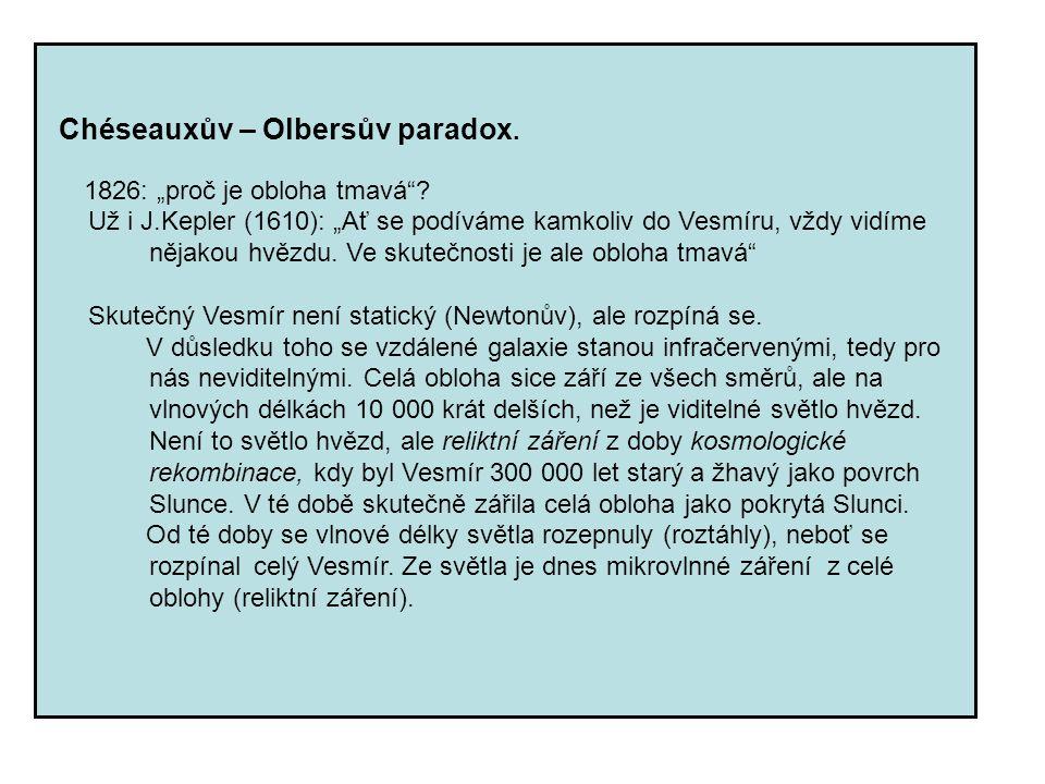 """Chéseauxův – Olbersův paradox. 1826: """"proč je obloha tmavá""""? Už i J.Kepler (1610): """"Ať se podíváme kamkoliv do Vesmíru, vždy vidíme nějakou hvězdu. Ve"""
