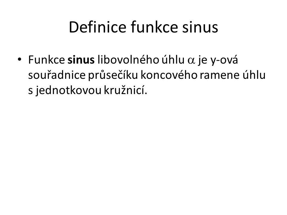 Definice funkce sinus Funkce sinus libovolného úhlu  je y-ová souřadnice průsečíku koncového ramene úhlu s jednotkovou kružnicí.
