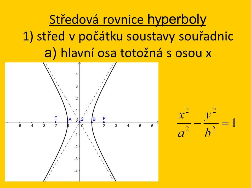 Středová rovnice hyperboly 1) střed v počátku soustavy souřadnic a) hlavní osa totožná s osou x