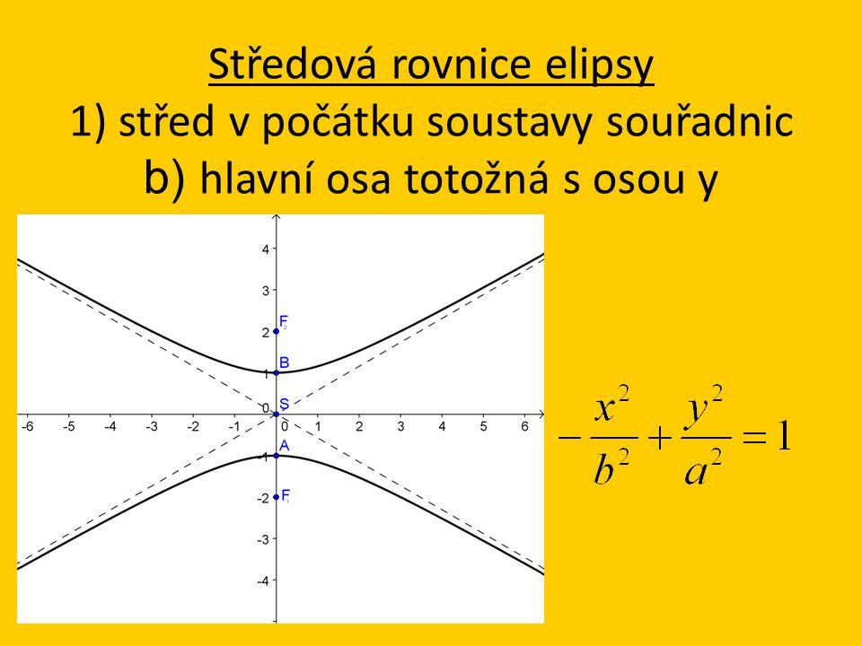 Středová rovnice elipsy 1) střed v počátku soustavy souřadnic b) hlavní osa totožná s osou y