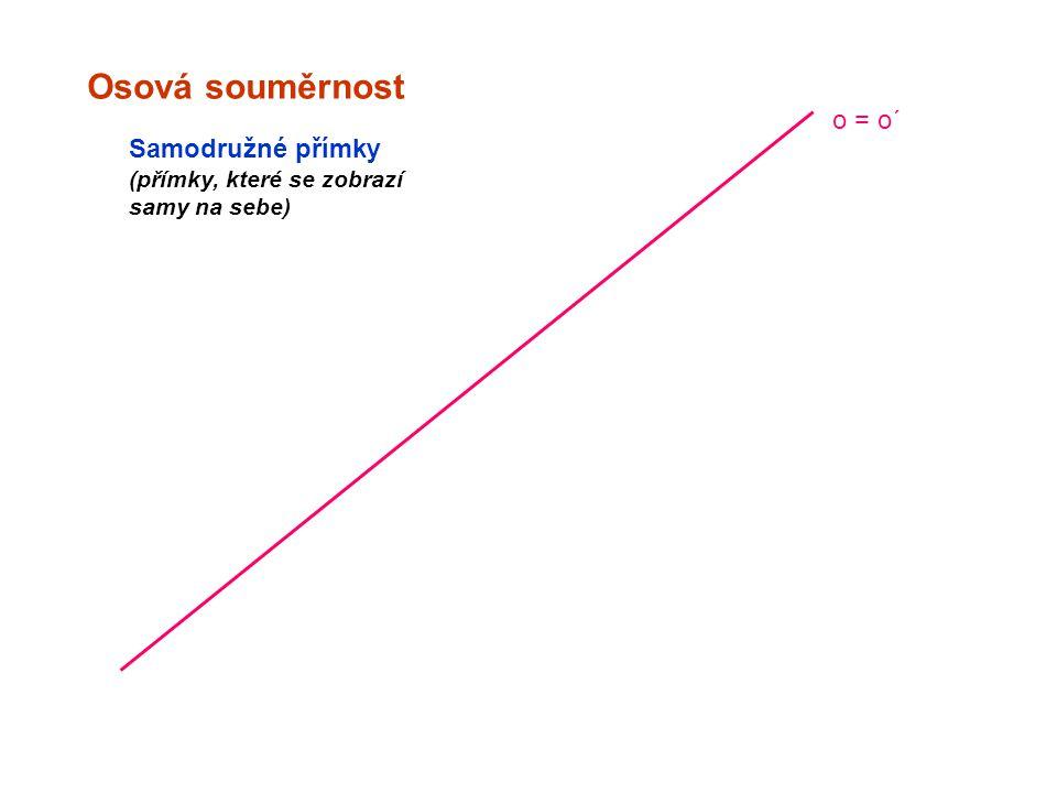 Osová souměrnost o = o´ Samodružné přímky (přímky, které se zobrazí samy na sebe)