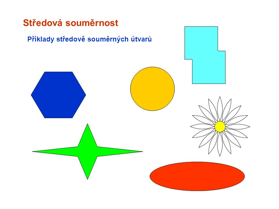 Příklady středově souměrných útvarů Středová souměrnost