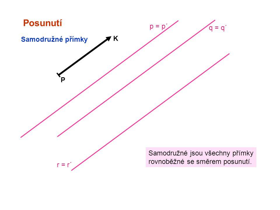 Posunutí P K Samodružné přímky Samodružné jsou všechny přímky rovnoběžné se směrem posunutí. q = q´ p = p´ r = r´