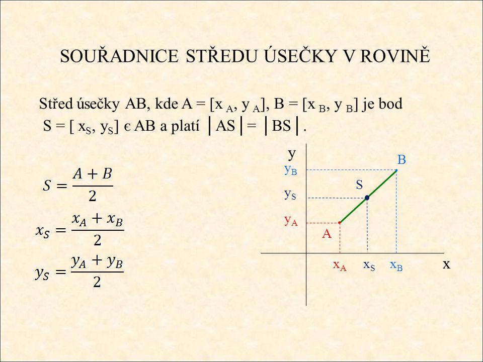 SOUŘADNICE STŘEDU ÚSEČKY V ROVINĚ Střed úsečky AB, kde A = [x A, y A ], B = [x B, y B ] je bod S = [ x S, y S ] є AB a platí │AS│= │BS│.