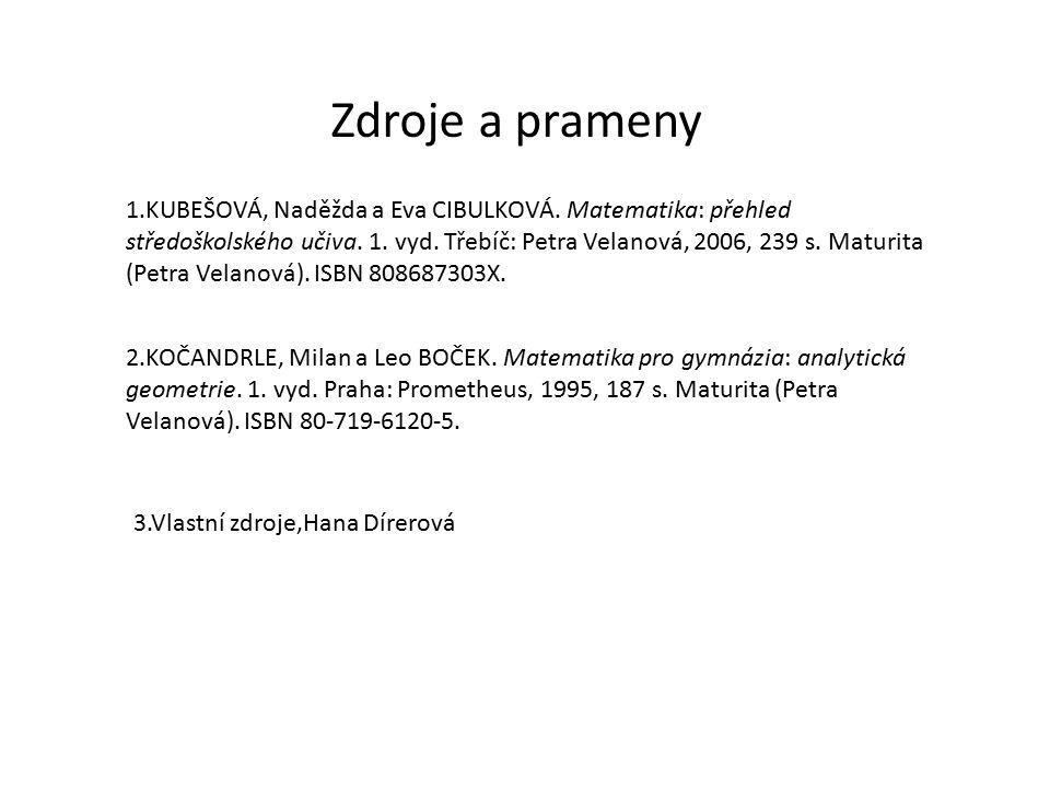 Zdroje a prameny 1.KUBEŠOVÁ, Naděžda a Eva CIBULKOVÁ.