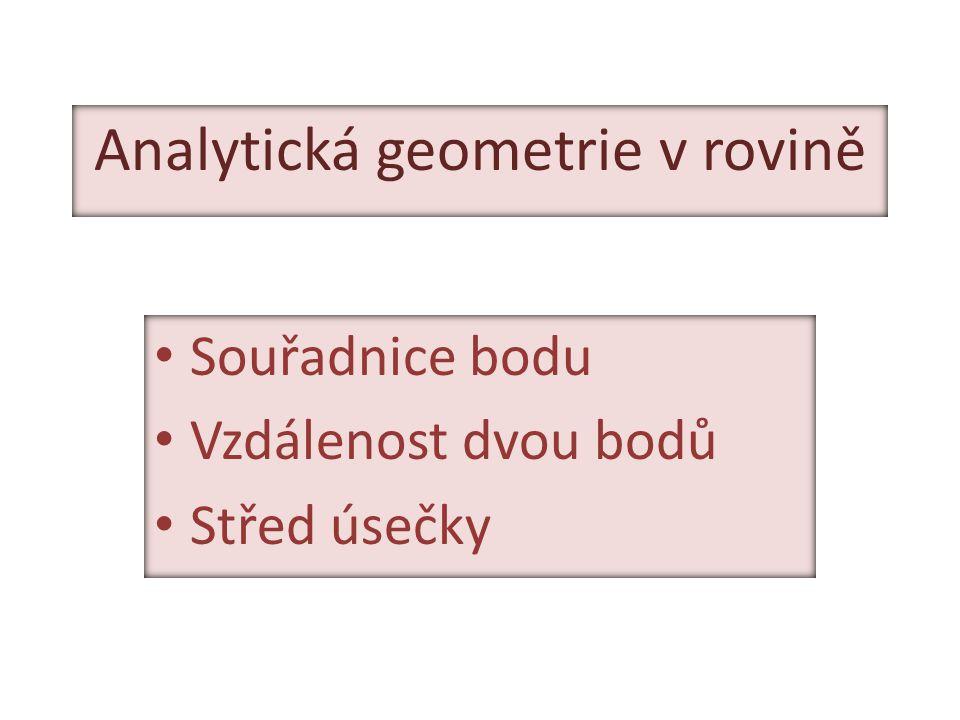 Analytická geometrie v rovině Souřadnice bodu Vzdálenost dvou bodů Střed úsečky