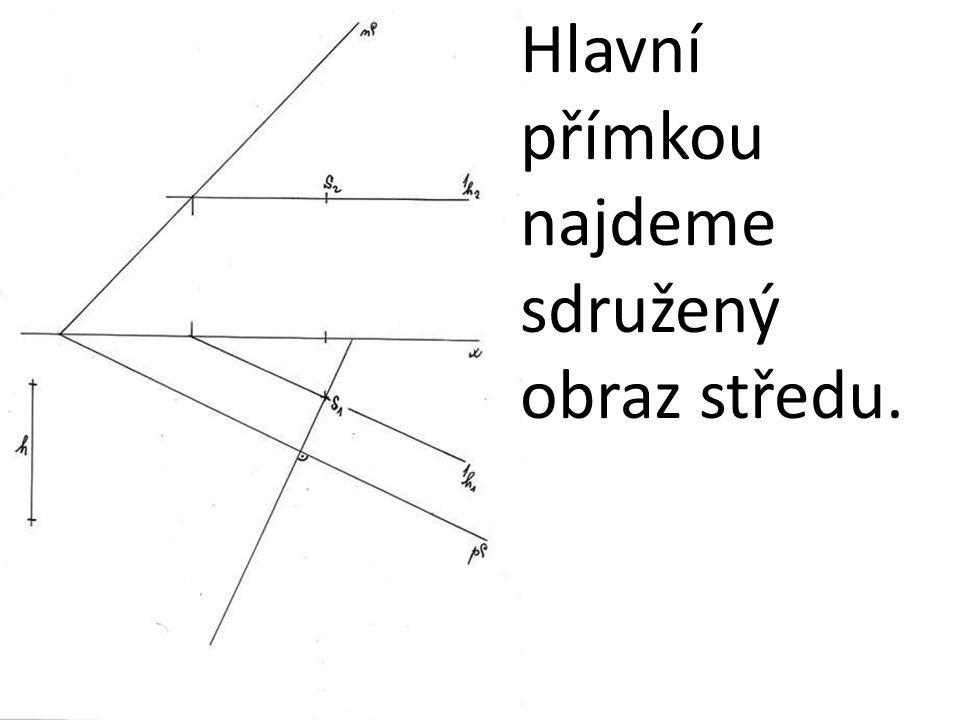 Hlavní přímkou najdeme sdružený obraz středu.