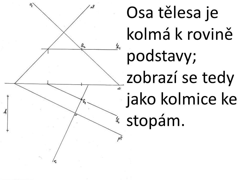 Osa tělesa je kolmá k rovině podstavy; zobrazí se tedy jako kolmice ke stopám.