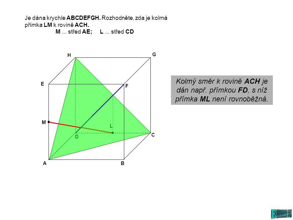 L D AB C E G H F Kolmý směr k rovině ACH je dán např.