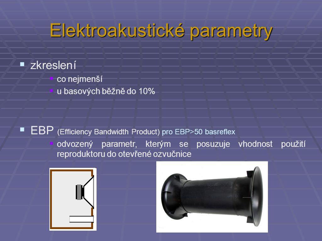 Elektroakustické parametry  zkreslení  co nejmenší  u basových běžně do 10%  EBP (Efficiency Bandwidth Product) pro EBP>50 basreflex  odvozený parametr, kterým se posuzuje vhodnost použití reproduktoru do otevřené ozvučnice