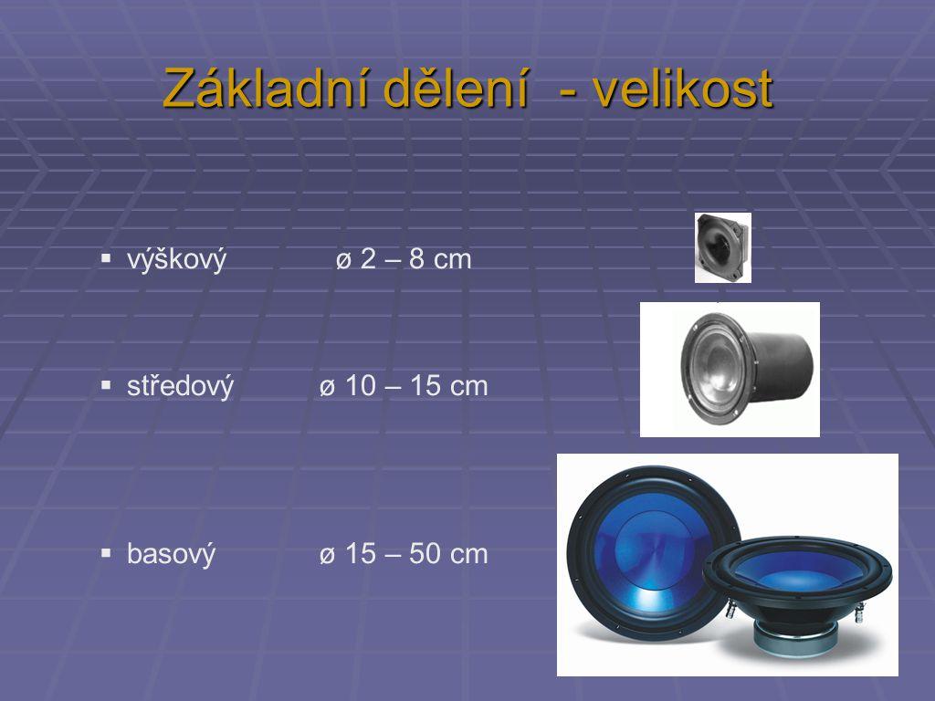 """Elektroakustické parametry  """"obyvákové reproduktory  impedance:  4 Ω  8 Ω  výkon:  bas 40 – 100 W  střed 10 – 40 W  výšky 2 - 10 W  citlivost:  82 – 88 dB"""