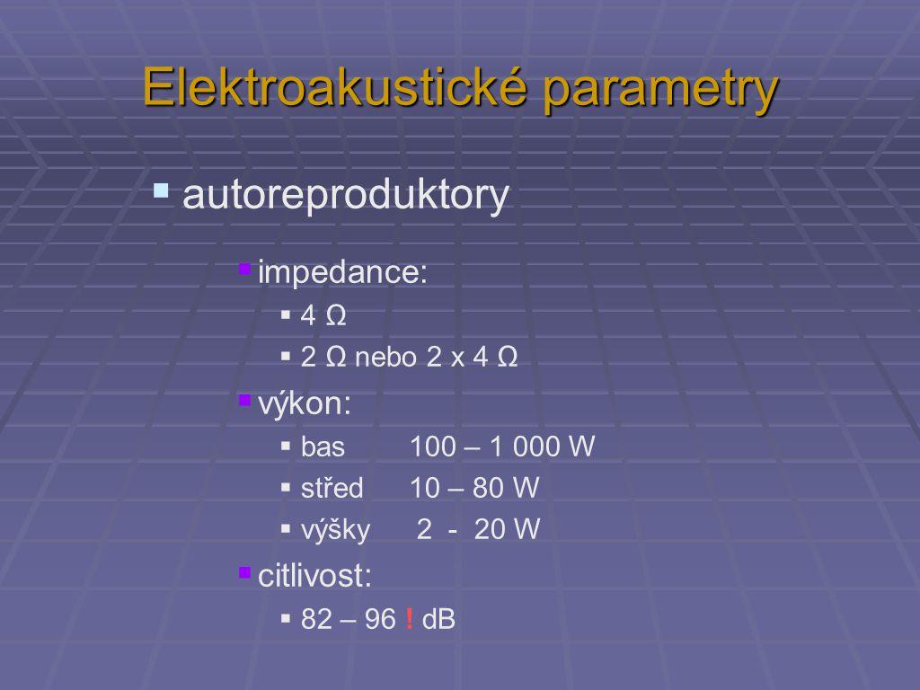 Elektroakustické parametry  PC reproduktory  impedance:  8 Ω  výkon:  (subwoofer) 20 – 100 W  střed nebo jen širokopásmový 2 – 20 W  (výšky) 2 - 5 W  citlivost:  82 – 88 dB