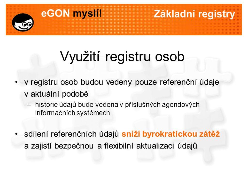 Využití registru osob v registru osob budou vedeny pouze referenční údaje v aktuální podobě –historie údajů bude vedena v příslušných agendových infor