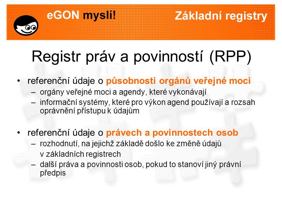 Registr práv a povinností (RPP) referenční údaje o působnosti orgánů veřejné moci –orgány veřejné moci a agendy, které vykonávají –informační systémy,