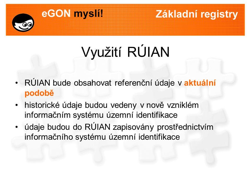 Využití RÚIAN RÚIAN bude obsahovat referenční údaje v aktuální podobě historické údaje budou vedeny v nově vzniklém informačním systému územní identif