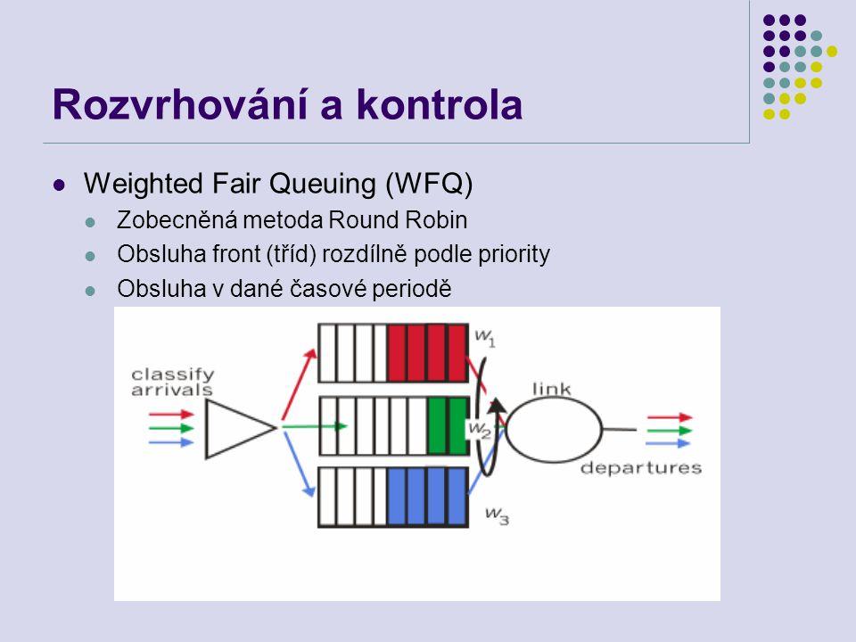 Rozvrhování a kontrola Weighted Fair Queuing (WFQ) Zobecněná metoda Round Robin Obsluha front (tříd) rozdílně podle priority Obsluha v dané časové periodě