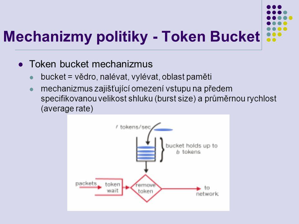 Mechanizmy politiky - Token Bucket Token bucket mechanizmus bucket = vědro, nalévat, vylévat, oblast paměti mechanizmus zajišťující omezení vstupu na předem specifikovanou velikost shluku (burst size) a průměrnou rychlost (average rate)
