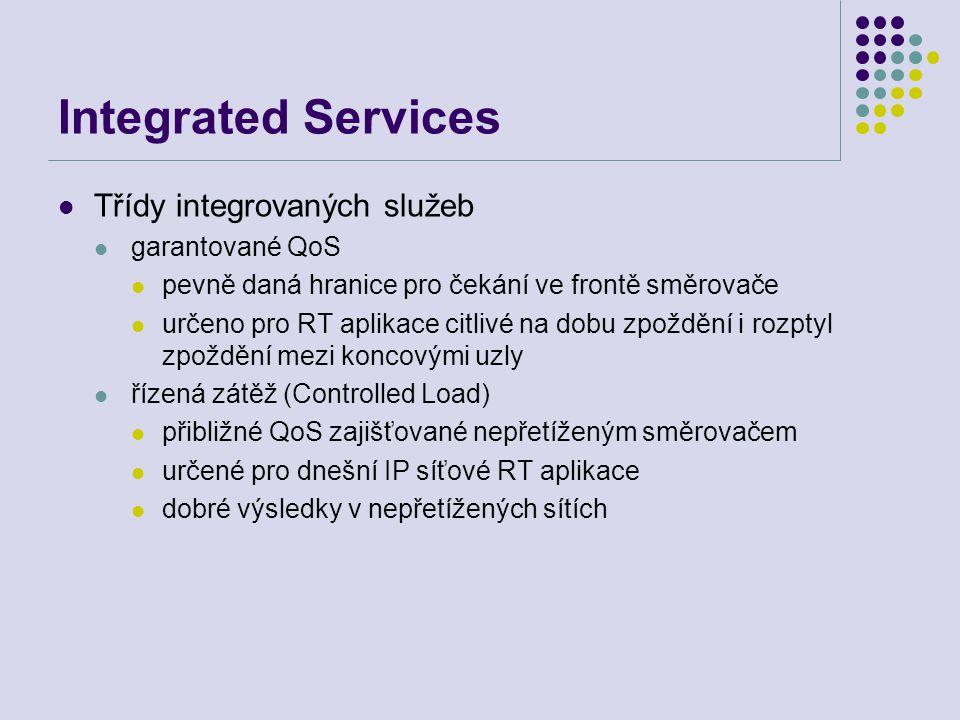 Integrated Services Třídy integrovaných služeb garantované QoS pevně daná hranice pro čekání ve frontě směrovače určeno pro RT aplikace citlivé na dob