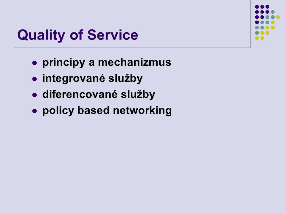 Quality of Service principy a mechanizmus integrované služby diferencované služby policy based networking