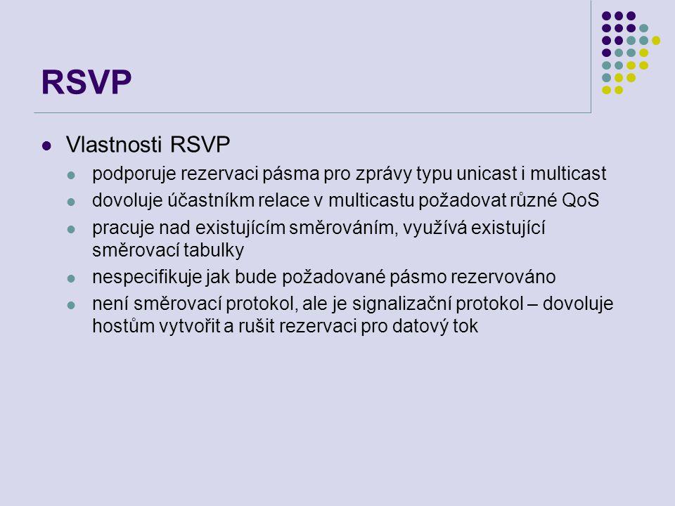 RSVP Vlastnosti RSVP podporuje rezervaci pásma pro zprávy typu unicast i multicast dovoluje účastníkm relace v multicastu požadovat různé QoS pracuje nad existujícím směrováním, využívá existující směrovací tabulky nespecifikuje jak bude požadované pásmo rezervováno není směrovací protokol, ale je signalizační protokol – dovoluje hostům vytvořit a rušit rezervaci pro datový tok