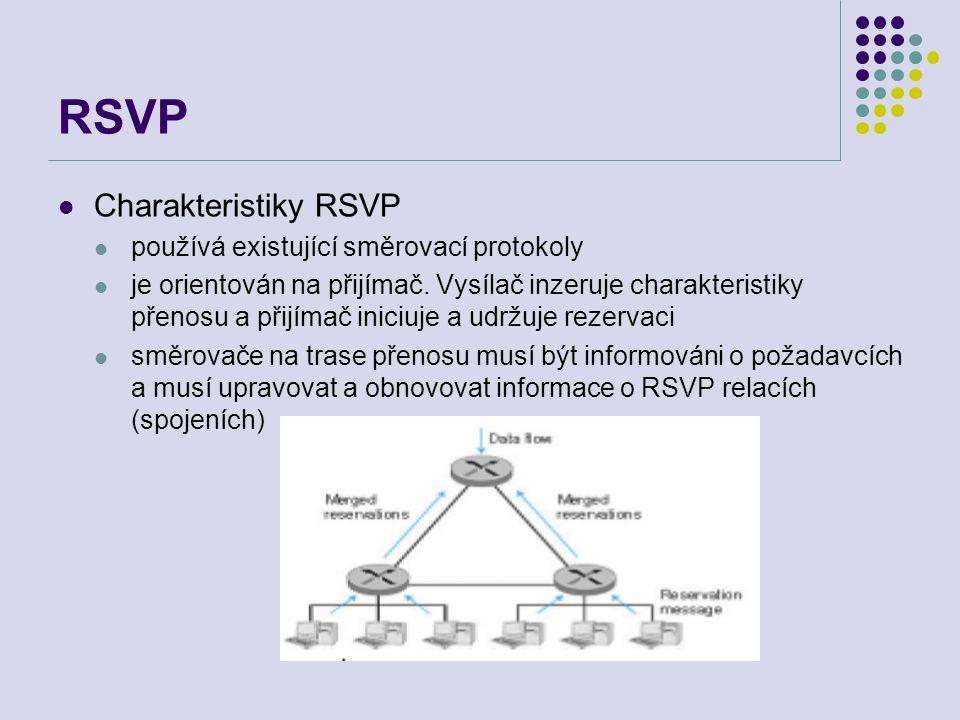 RSVP Charakteristiky RSVP používá existující směrovací protokoly je orientován na přijímač. Vysílač inzeruje charakteristiky přenosu a přijímač iniciu