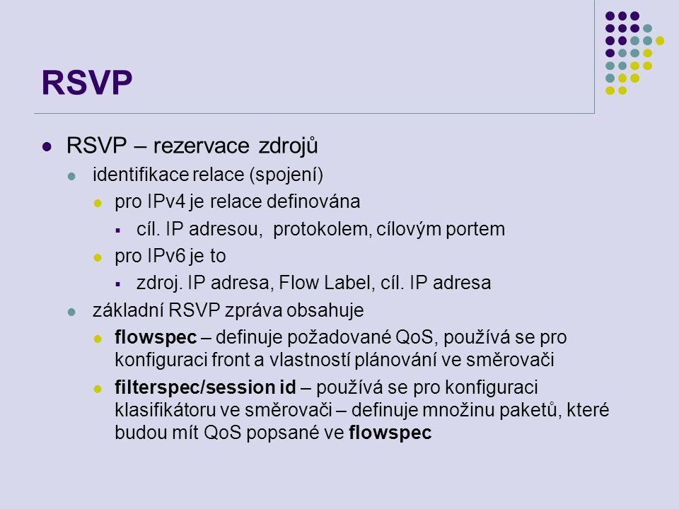 RSVP – rezervace zdrojů identifikace relace (spojení) pro IPv4 je relace definována  cíl.
