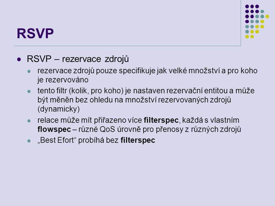 """RSVP RSVP – rezervace zdrojů rezervace zdrojů pouze specifikuje jak velké množství a pro koho je rezervováno tento filtr (kolik, pro koho) je nastaven rezervační entitou a může být měněn bez ohledu na množství rezervovaných zdrojů (dynamicky) relace může mít přiřazeno více filterspec, každá s vlastním flowspec – různé QoS úrovně pro přenosy z různých zdrojů """"Best Efort probíhá bez filterspec"""