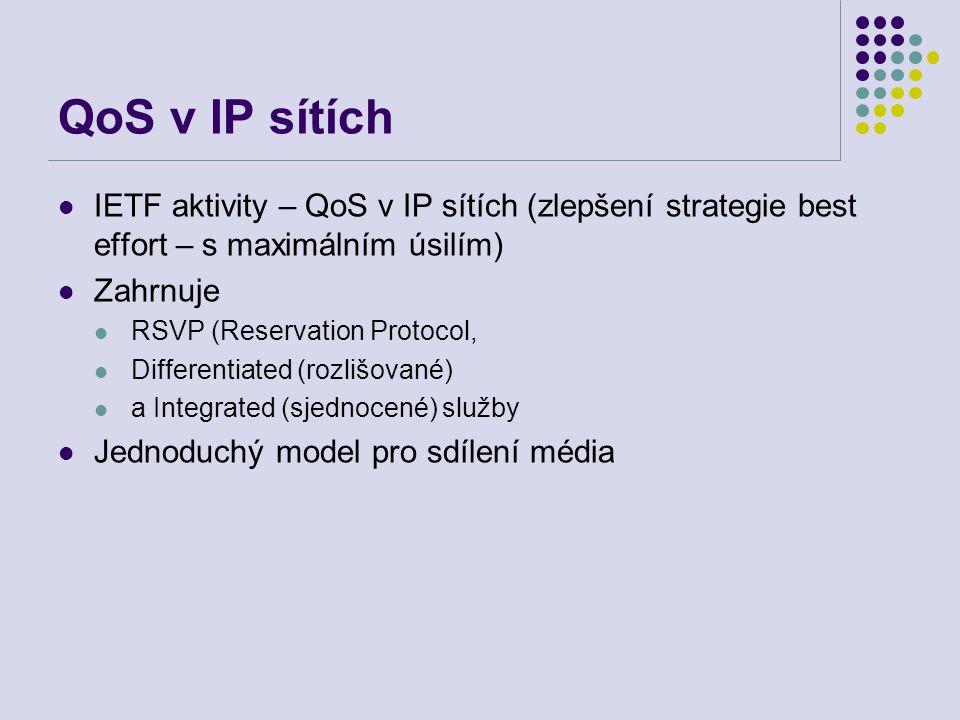 QoS v IP sítích IETF aktivity – QoS v IP sítích (zlepšení strategie best effort – s maximálním úsilím) Zahrnuje RSVP (Reservation Protocol, Differentiated (rozlišované) a Integrated (sjednocené) služby Jednoduchý model pro sdílení média