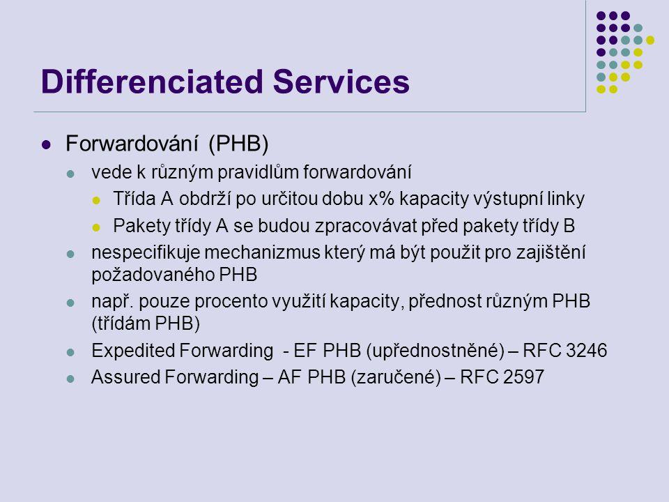 Differenciated Services Forwardování (PHB) vede k různým pravidlům forwardování Třída A obdrží po určitou dobu x% kapacity výstupní linky Pakety třídy
