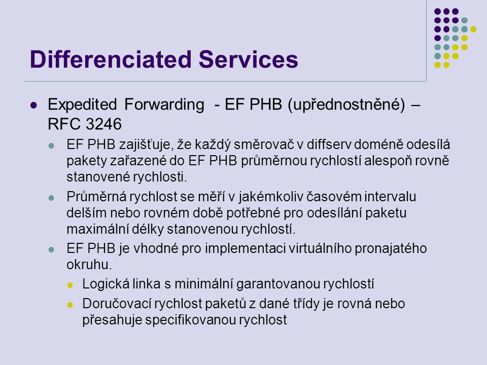 Differenciated Services Expedited Forwarding - EF PHB (upřednostněné) – RFC 3246 EF PHB zajišťuje, že každý směrovač v diffserv doméně odesílá pakety zařazené do EF PHB průměrnou rychlostí alespoň rovně stanovené rychlosti.
