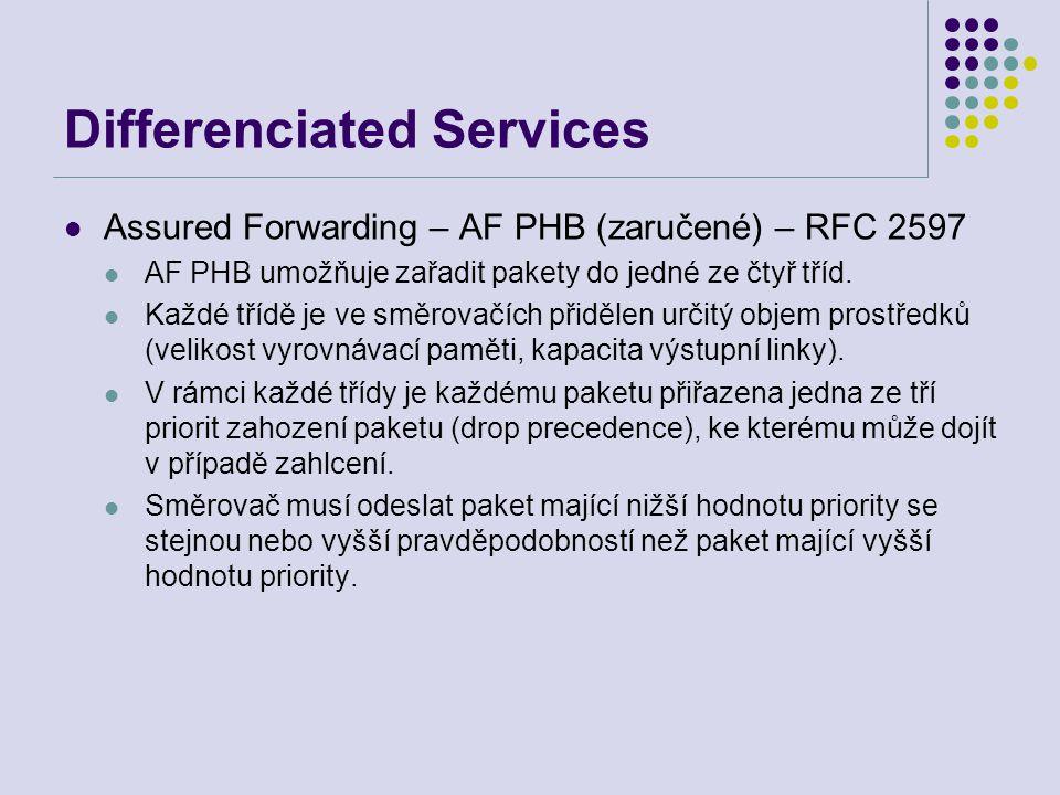Differenciated Services Assured Forwarding – AF PHB (zaručené) – RFC 2597 AF PHB umožňuje zařadit pakety do jedné ze čtyř tříd. Každé třídě je ve směr