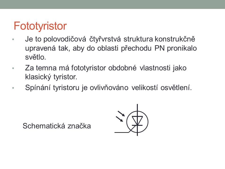 Fototyristor Je to polovodičová čtyřvrstvá struktura konstrukčně upravená tak, aby do oblasti přechodu PN pronikalo světlo. Za temna má fototyristor o