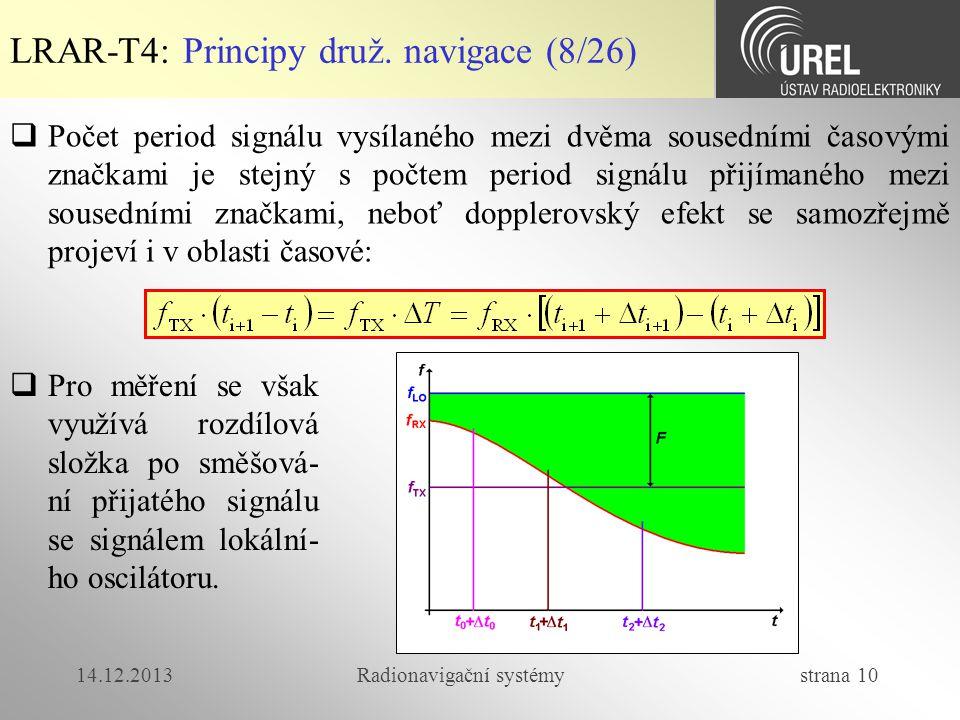 14.12.2013Radionavigační systémy strana 10 LRAR-T4: Principy druž. navigace (8/26)  Počet period signálu vysílaného mezi dvěma sousedními časovými zn