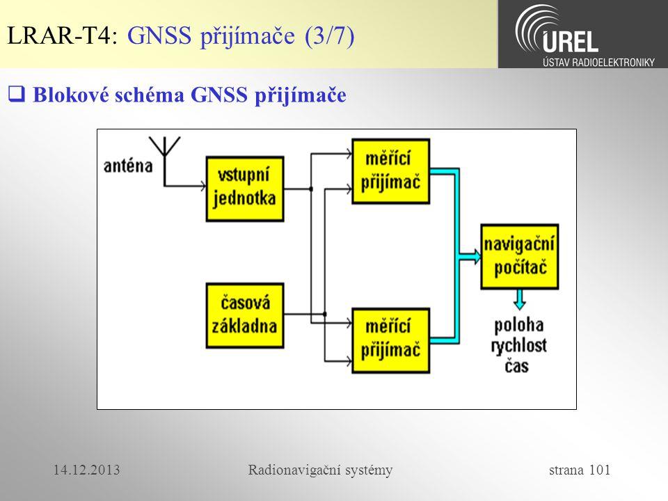 14.12.2013Radionavigační systémy strana 101 LRAR-T4: GNSS přijímače (3/7)  Blokové schéma GNSS přijímače