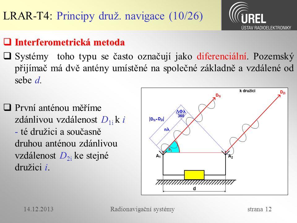 14.12.2013Radionavigační systémy strana 12 LRAR-T4: Principy druž. navigace (10/26)  Interferometrická metoda  První anténou měříme zdánlivou vzdále