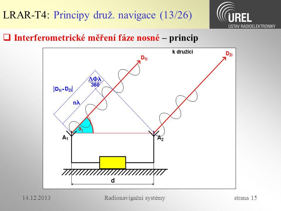14.12.2013Radionavigační systémy strana 15 LRAR-T4: Principy druž. navigace (13/26)  Interferometrické měření fáze nosné – princip