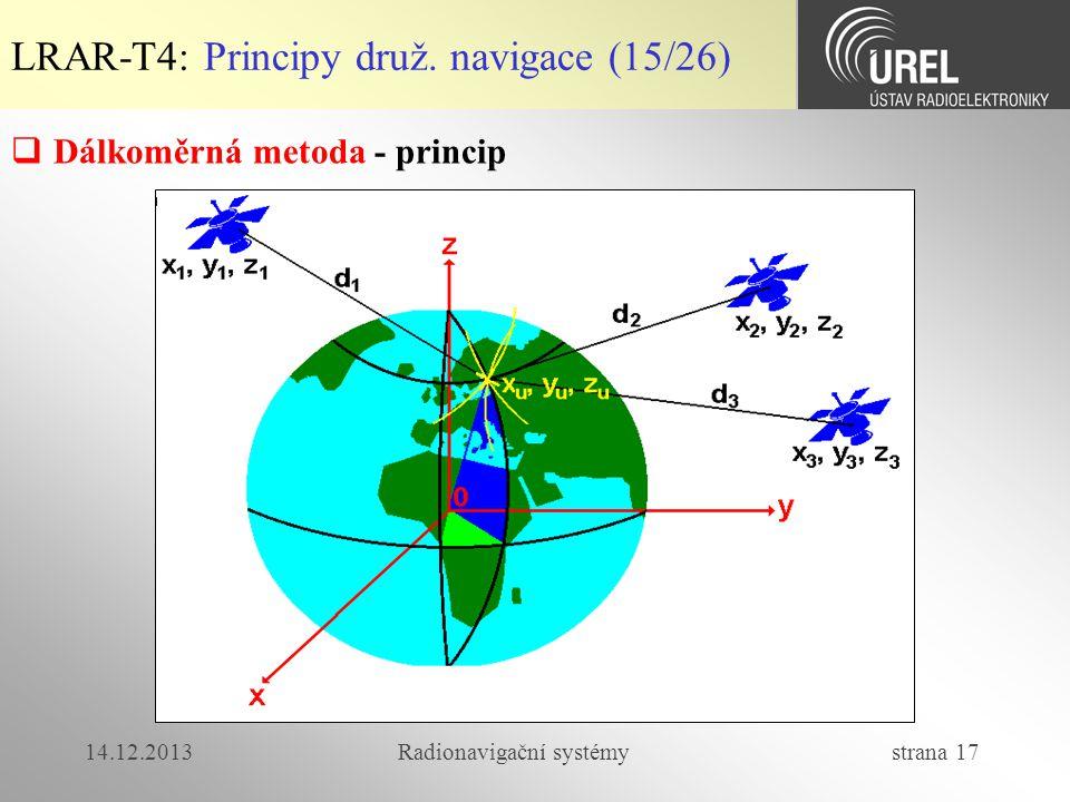 14.12.2013Radionavigační systémy strana 17 LRAR-T4: Principy druž. navigace (15/26)  Dálkoměrná metoda - princip