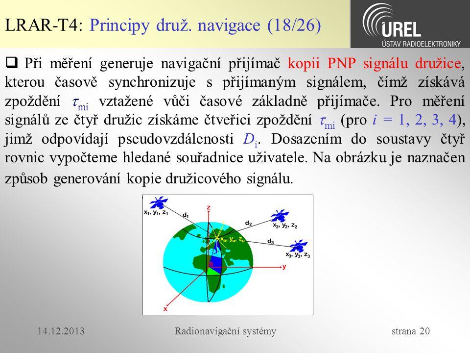 14.12.2013Radionavigační systémy strana 20 LRAR-T4: Principy druž. navigace (18/26)  Při měření generuje navigační přijímač kopii PNP signálu družice