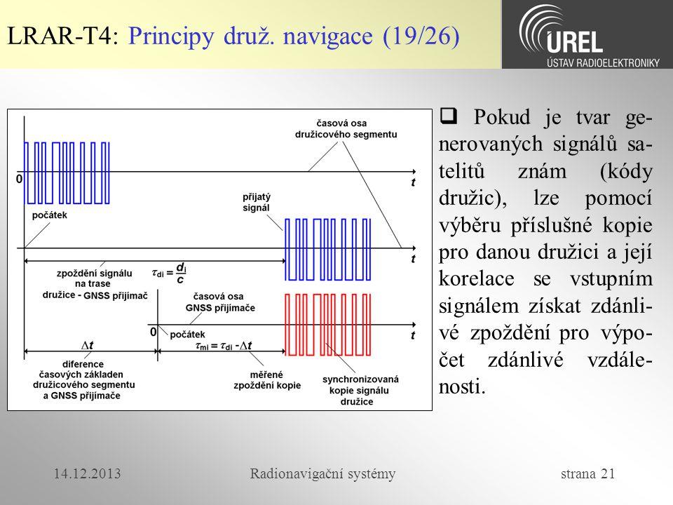 14.12.2013Radionavigační systémy strana 21 LRAR-T4: Principy druž. navigace (19/26)  Pokud je tvar ge- nerovaných signálů sa- telitů znám (kódy druži